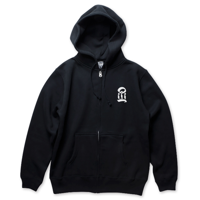 Photo1: USUGROW / I BLACK ZIP UP HOODIE (1)