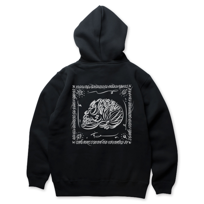 Photo1: USUGROW / LIFE SKULL BLACK ZIP UP HOODIE (1)