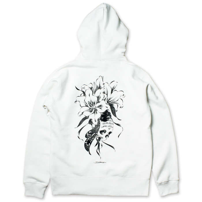 Photo1: USUGROW / REBIRTH WHITE ZIP UP HOODIE (1)