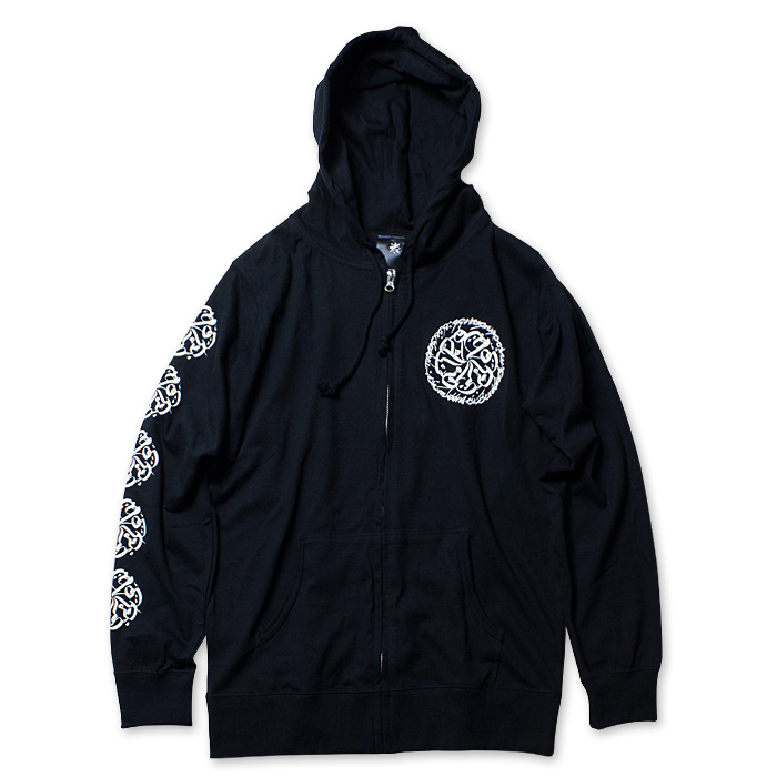 Photo1: USUGROW / CIRCLE LOGO BLACK TENJIKU [T-cloth] HOODIE (1)