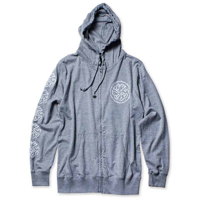 Photo1: USUGROW / CIRCLE LOGO GREY TENJIKU [T-cloth] HOODIE (1)