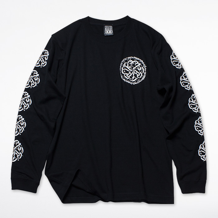 Photo1: USUGROW / CIRCLE LOGO LONG SLEEVE BLACK TEE (1)