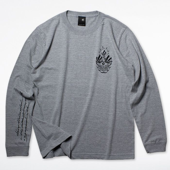 Photo1: USUGROW / FUTURE SKULL LONG SLEEVE GREY TEE (1)