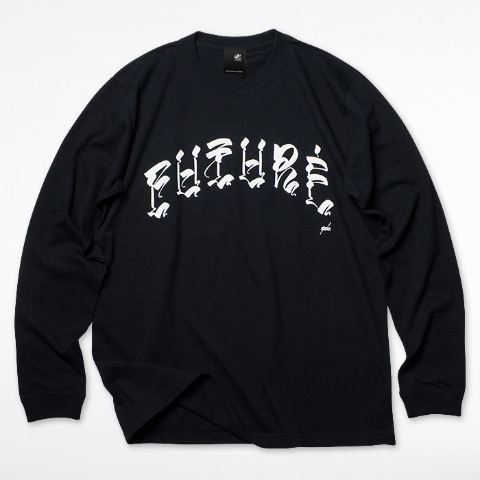 Photo1: USUGROW / FUTURE LOGO LONG SLEEVE BLACK TEE (1)