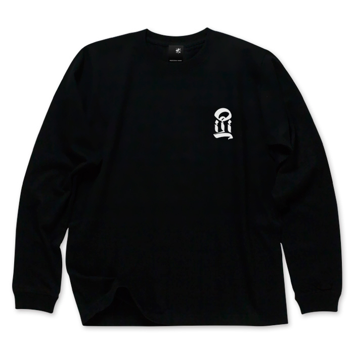 Photo1: USUGROW / I LONG SLEEVE BLACK TEE (1)