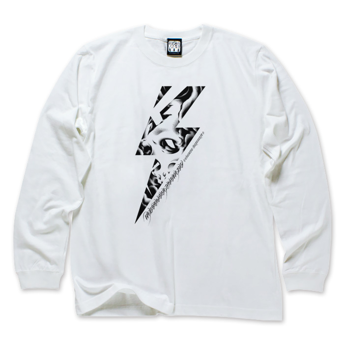 Photo1: RIDE THE LIGHTNING LONG SLEEVE WHITE TEE (1)