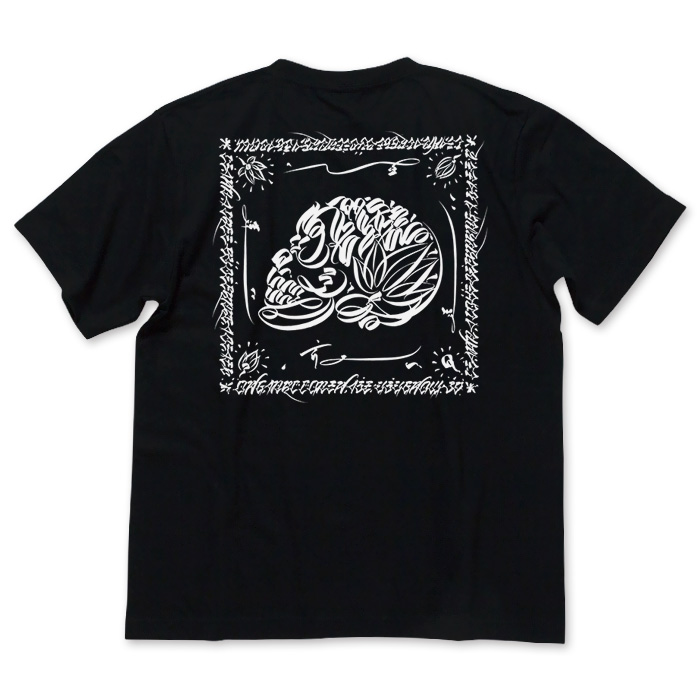 Photo1: USUGROW / LIFE SKULL BLACK TEE (1)